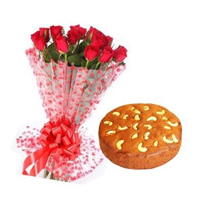 Christmas Flowers With Plum Cake