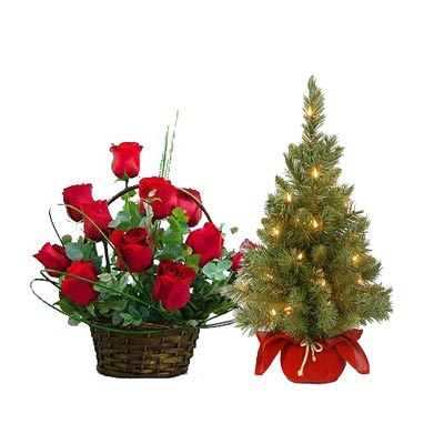 Christmas Flowers With Xmas Tree