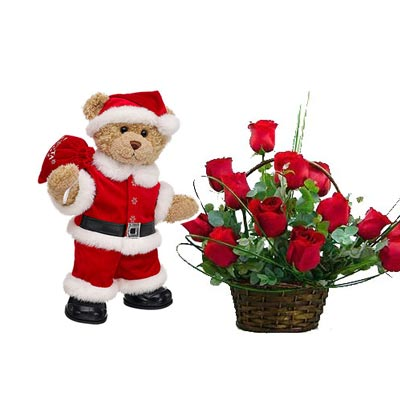 Christmas Flowers With Santa Claus