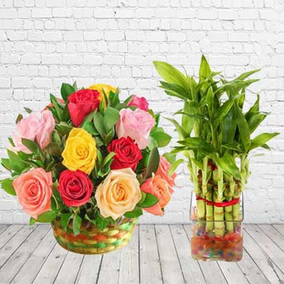 Lucky Bamboo With Mix Roses
