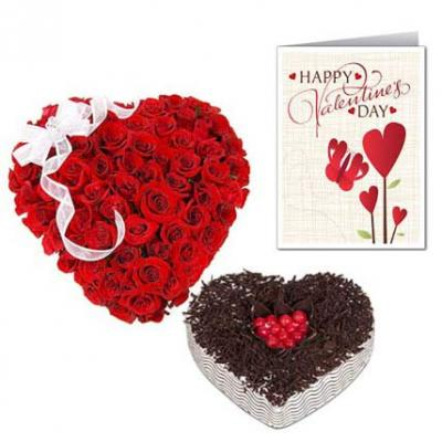 Roses Heart, Heart Shape Cake With Valentine Card