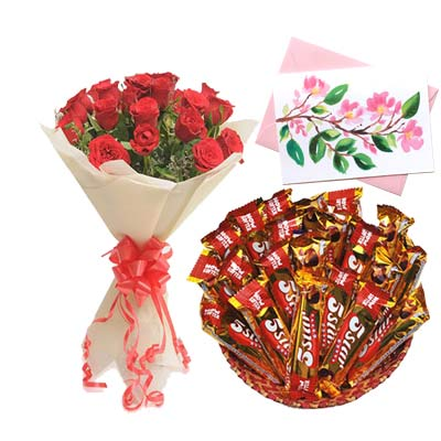 5 Star Chocolates Hamper With Card and Roses
