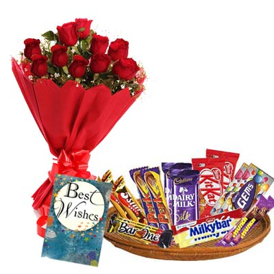 Mixed Chocolates Exclusive Hamper With Card and Roses