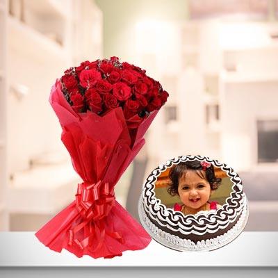 Chocolates Photo Cake With Roses