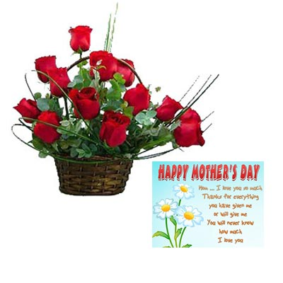 Red Roses Basket With Mothers Day Card