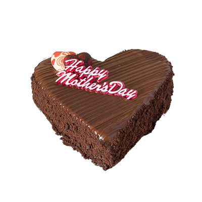 Happy Mothers Day Heart Shape Chocolate Cake