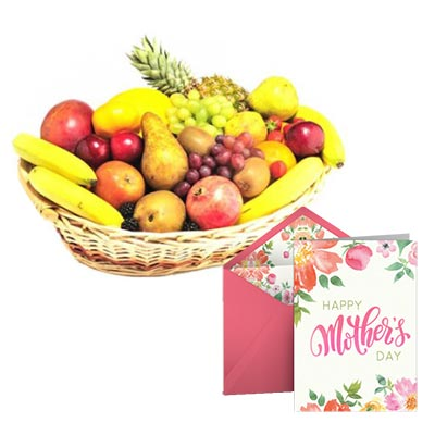 Fresh Fruits Basket With Mothers Day Card
