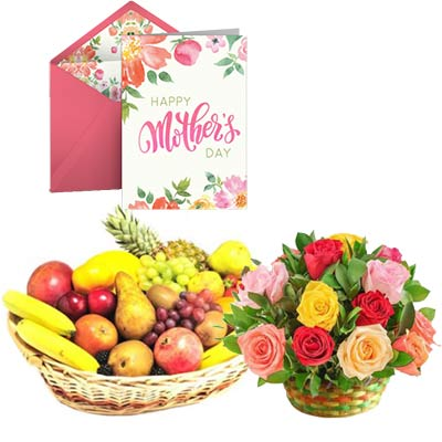 Fresh Fruits and Mixed Roses Basket With Mothers Day Card