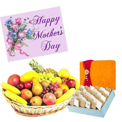 Fresh Fruits Basket and Kaju Burfi With Mothers Day Greeting