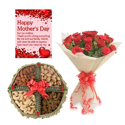 Roses and Dry Fruits With Mothers Day Greeting
