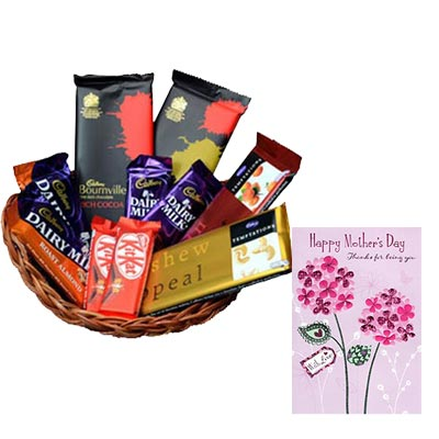 Basket Of Indian Chocolates With Mothers Day Card
