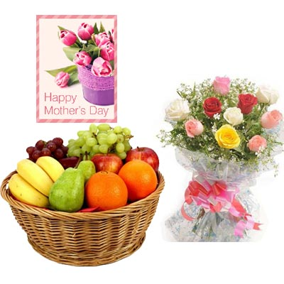 Fresh Fruits Basket & Mixed Roses with Mothers Day Card