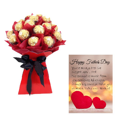 16 PCs Ferrero Rocher Bouquet With Fathers Day Card