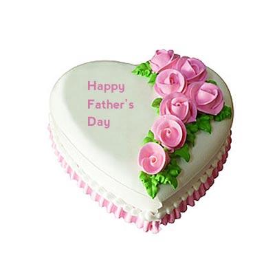 Happy Fathers Day Heart Shape Vanilla Cake