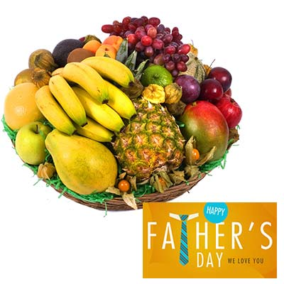 Fresh Fruits Basket With Fathers Day Card