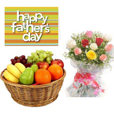 Fresh Fruits and Mixed Roses Basket With Fathers Day Card