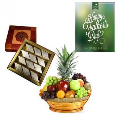 Fresh Fruits Basket and Kaju Burfi With Fathers Day Greeting