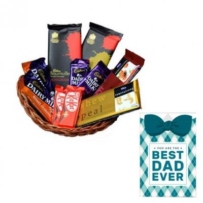 Basket Of Indian Chocolates With Fathers Day Card