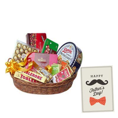 Basket of Imported Chocolates With Fathers Day Card