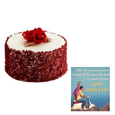 Fathers Day Red Velvet Cake Cake with Fathers Day Card