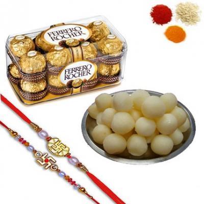 Rakhi with Rasgulla and Ferrero Rocher