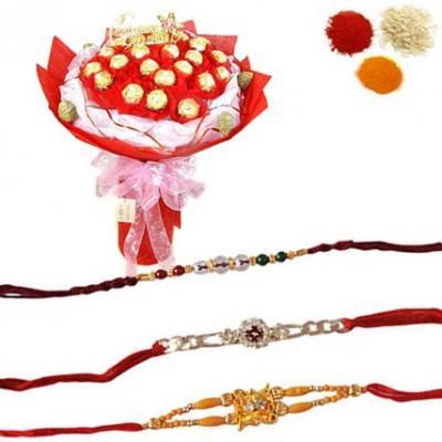 Rakhi Set with Ferrero Rocher Bouquet