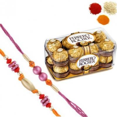 Rakhi Set with 16 Pcs Ferrero Rocher