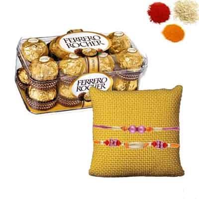 Rakhi Set with 16 Pcs Ferrero Rocher Chocolate