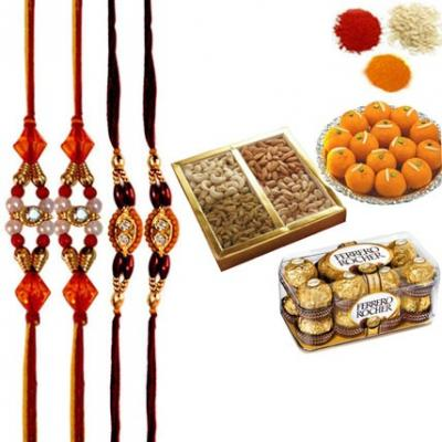 Rakhi with Sweets, Chocolates and Dry Fruits