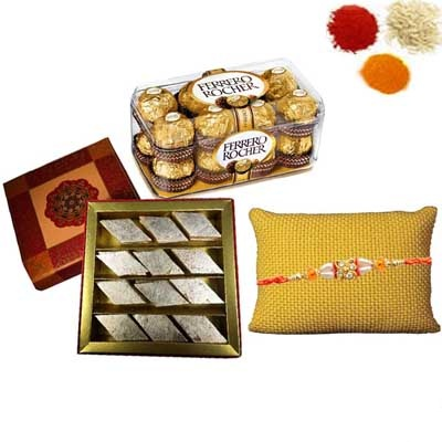 Rakhi with Ferrero Rocher and Kaju Katli