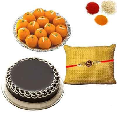 Rakhi with Cake and Ladoo
