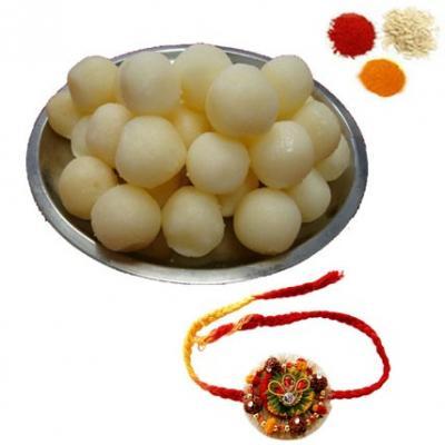 Rakhi with Rasgulla Sweets