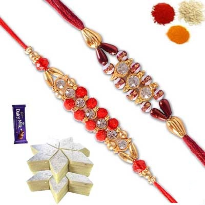 2 Rakhi Set with Kaju Burfi and Chocolate