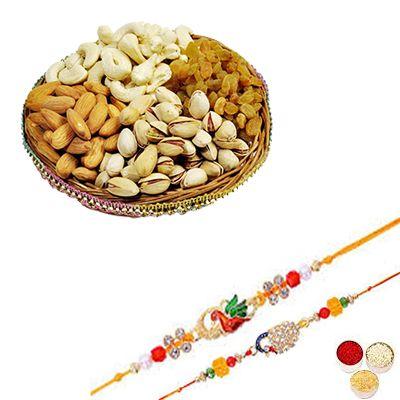 Designer Rakhi Set with Mixed Dry Fruits