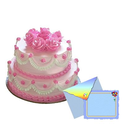 2 Tier Strawberry Cake with Greeting Card