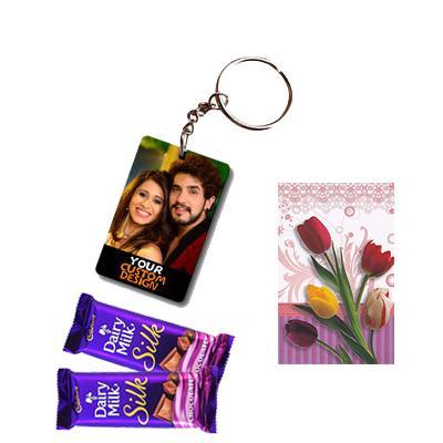 Photo Key Chain with Cadbury Silk and Greeting Card