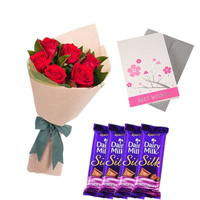 Cadbury Dairy Milk with Flowers and Greeting Card