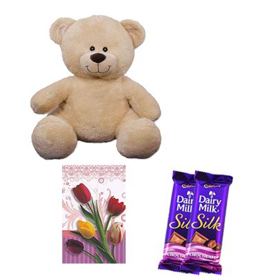 Brown Teddy Bear with Chocolates and Card