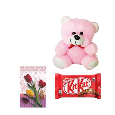 Teddy Bear with Greeting Card and Chocolates
