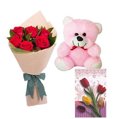 Teddy, Flowers and Greeting Card