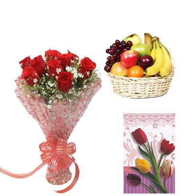 Fresh Fruits Basket with Flowers and Card