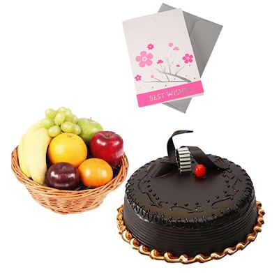 Fresh Fruits Basket with Cake and Card