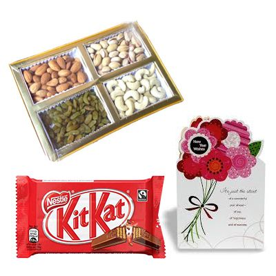 Dry Fruits with Greeting Cards and Chocolate