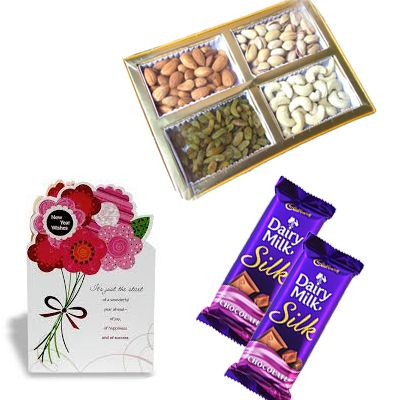 Dry Fruits with Silk & Greeting Card