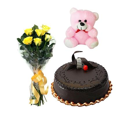 Teddy, Cake and Yellow Roses