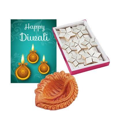 Diwali Diya Set with Kaju Burfi and Greeting Card