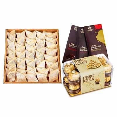 Kaju Burfi with Chocolates