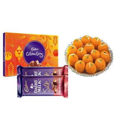 Motichoor Ladoo with Cadbury Celebration & Silk
