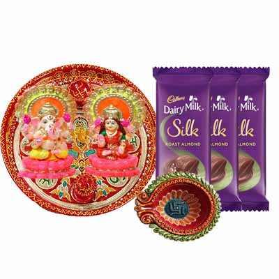 Diwali Pooja Thali with Dairy Milk Silk