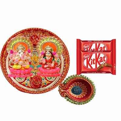 Diwali Pooja Thali with Kitkat